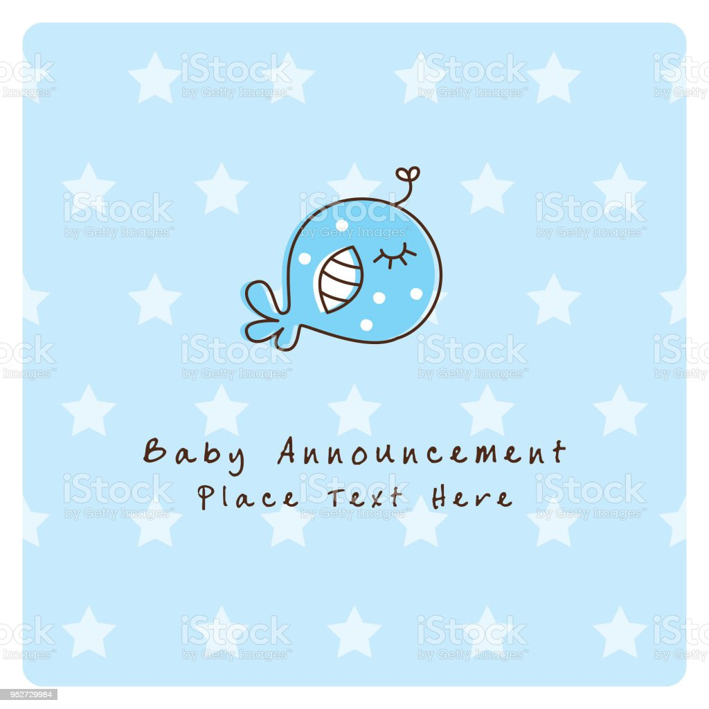 cute whale fish baby boy arrival announcement card vector stock