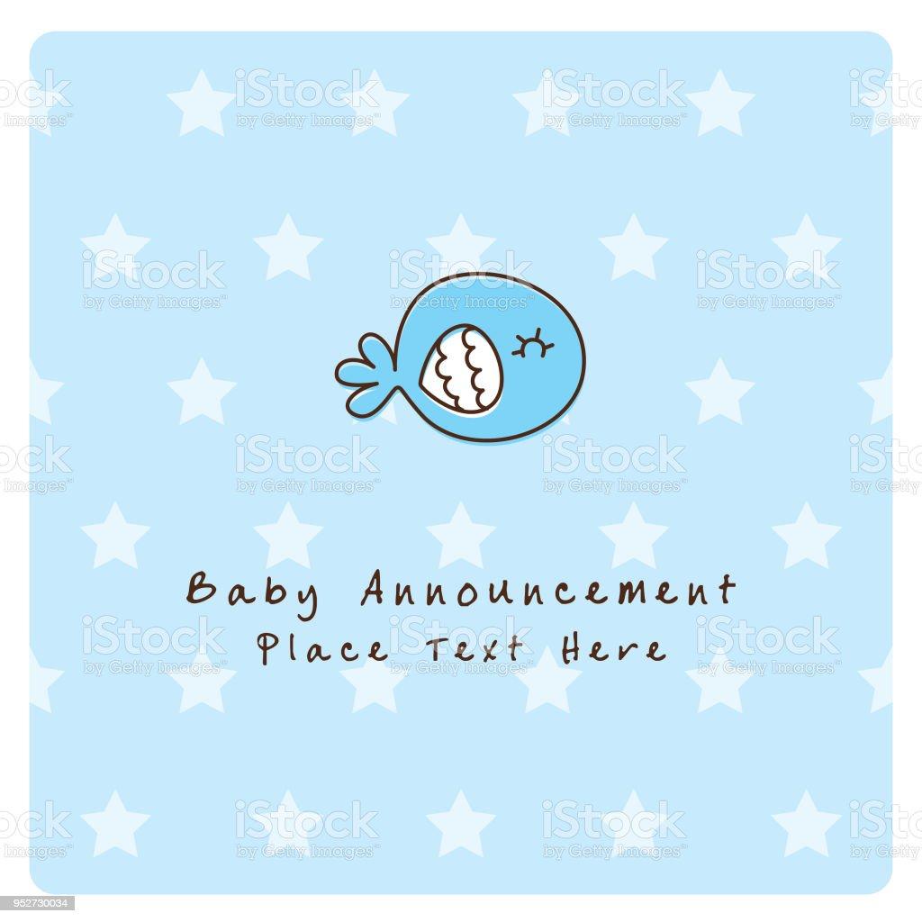 Ilustração De Baleia Bonito Peixe Bebê Menino Chegada Anúncio Cartão