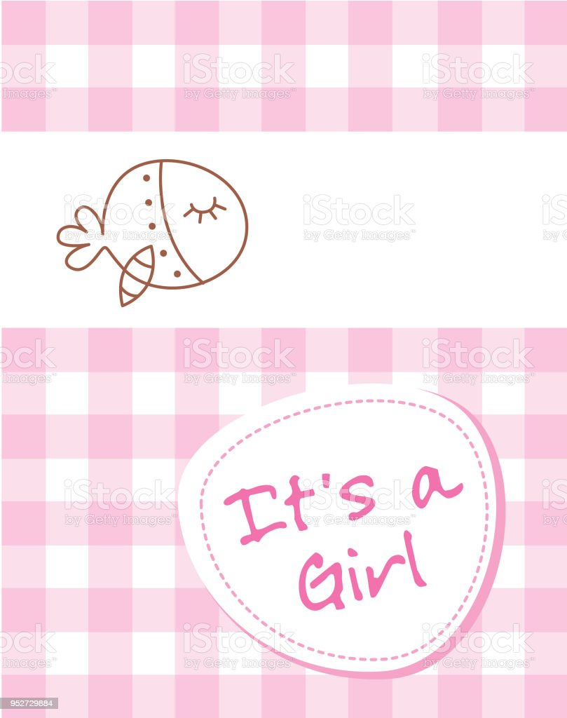 cute whale fish baby girl arrival announcement card vector stock