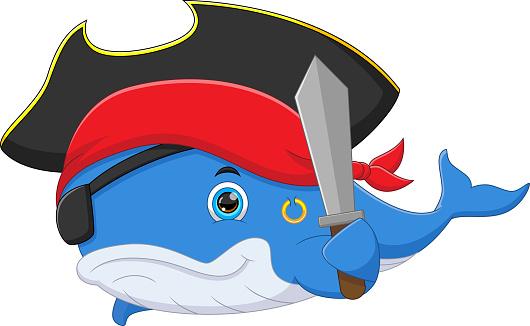 cute whale wearing pirate costume
