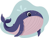 istock cute whale with a small fountain over his head on a blue background, flat cartoon vector illustration 1268751915