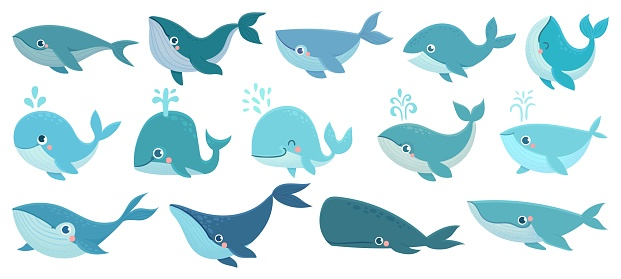 Cute whales. Marine life animals, underwater blue whales, childrens icons for stickers, baby shower, books. Simple cartoon vector set