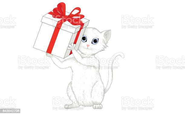 Cute white and gray cat holding a gift box with red ribbon vector id843542708?b=1&k=6&m=843542708&s=612x612&h=a5ponu5uy90a9cogn0qwxlx9gdp0cef 7sxqtary8wg=