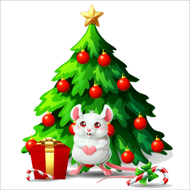 Bекторная иллюстрация Cute white and pink mouse ang fir tree on white