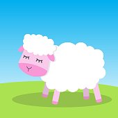 Cute white and pink sheep, vector illustration. Doodle cartoon print. Sheep with closed eyes, sunny day. Girl or boy baby shower or nursery decor. Design for baby, kids poster, card, invitation