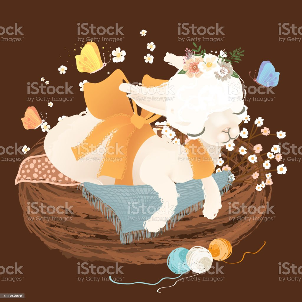 Cute white baby llama, alpaca dreaming, sleeping in rustic basket with yarn balls and flowers, floral wreath, bouquet vector art illustration