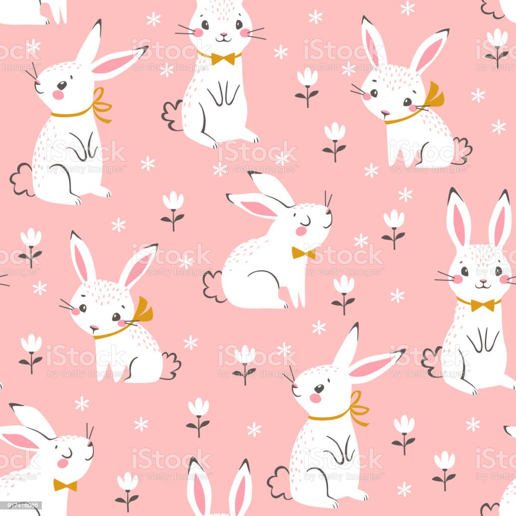 Cute white bunnies pattern Seamless pattern of cute white bunnies on pink background with floral elements. Animal stock vector