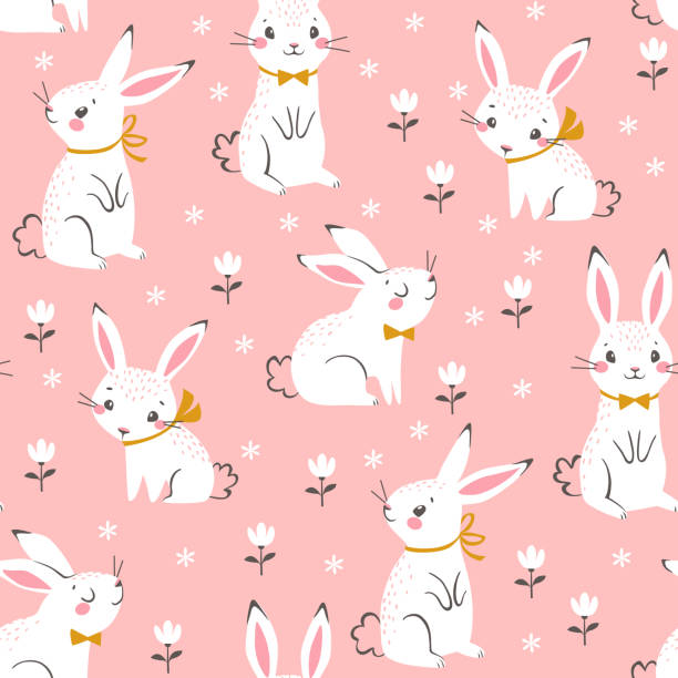 niedlichen weißen hasen muster - kaninchen stock-grafiken, -clipart, -cartoons und -symbole