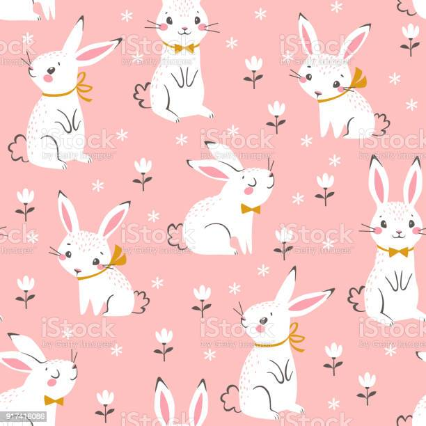 Cute White Bunnies Pattern Stock Illustration - Download Image Now