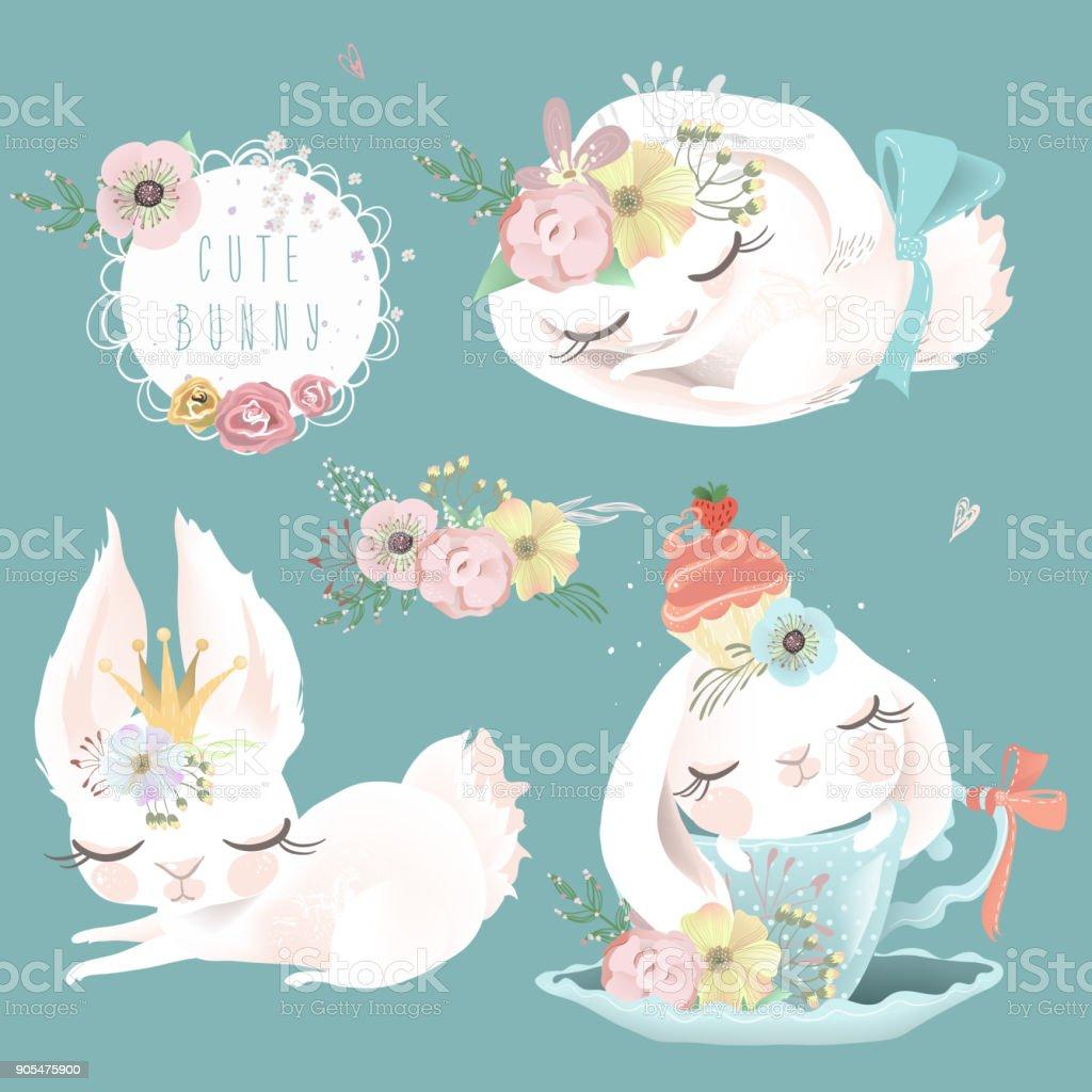 Cute white bunnies rabbits dreaming sleeping and romantic baby girl princess set illustration