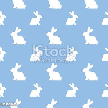 Cute White Bunnies Seamless Pattern