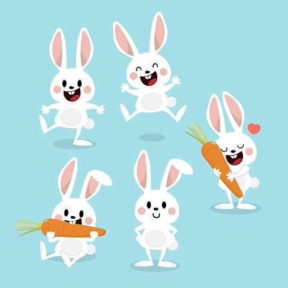 Cute white bunny with carrot. Rabbit cartoon vector collection. Animal wildlife character set.