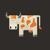 Cute white cartoon cow with horns and red spots
