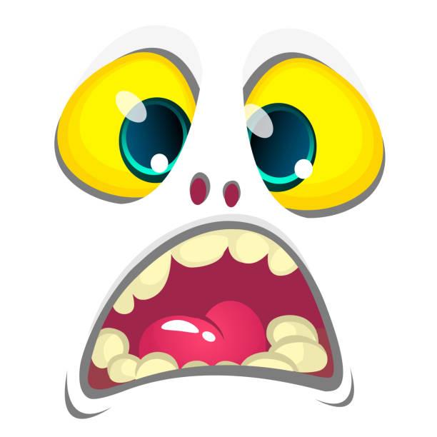 Niedlichen weißen Cartoon Monster Gesicht. Vektor Halloween Monster Avatar. Design für Print, Kinderbuch, Party Dekoration – Vektorgrafik