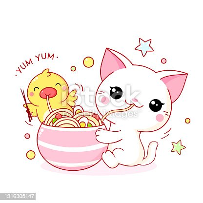 istock Cute white cat and yellow duck eat ramen noodles 1316305147