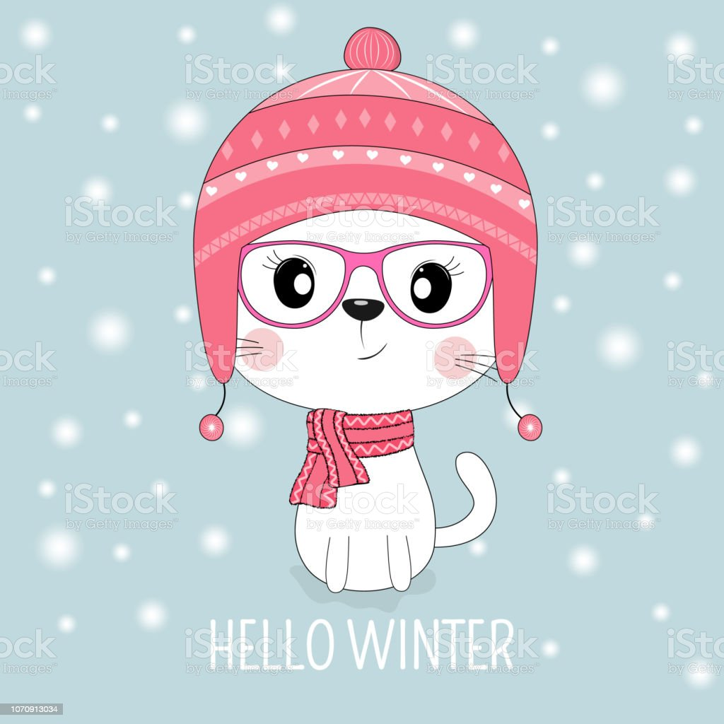 Cute white cat in hat and pink glasses with message Hello Winter. vector art illustration