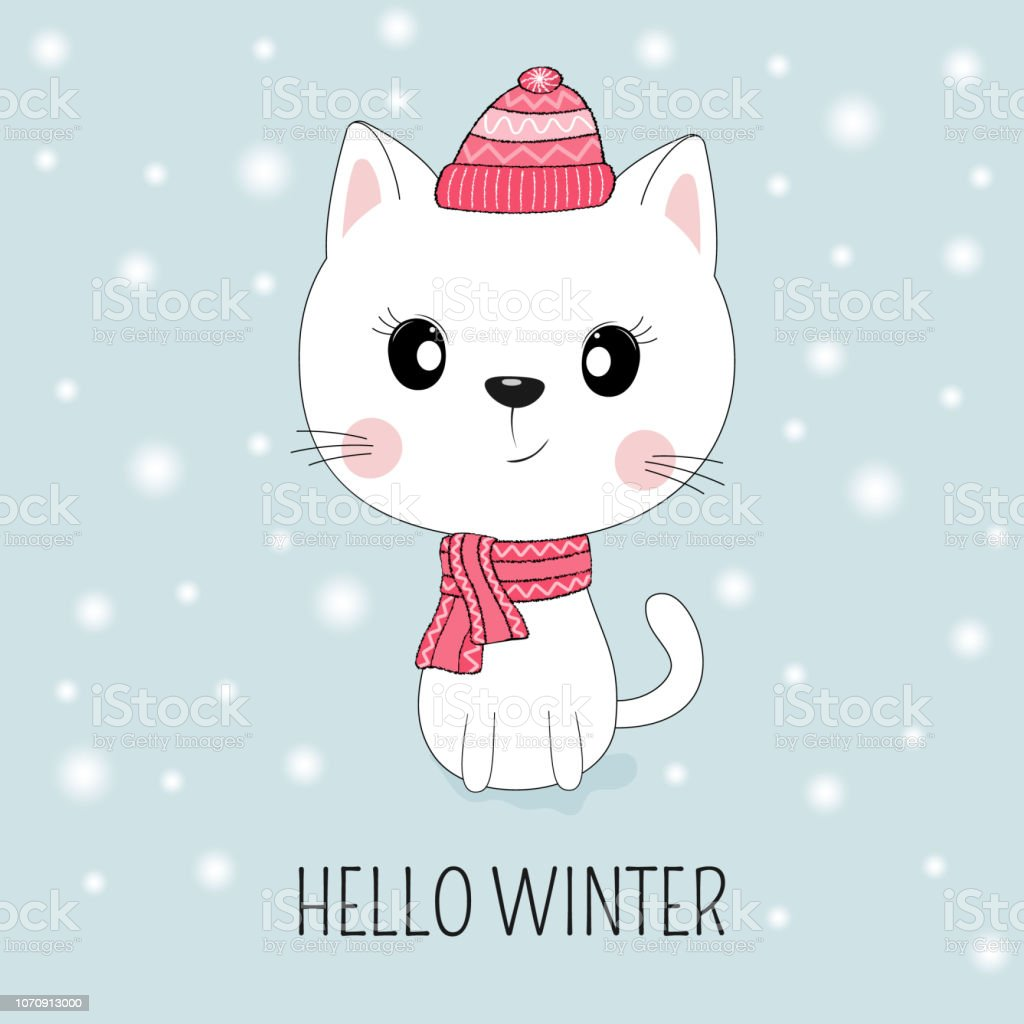 Cute white cat in hat with message Hello Winter. vector art illustration