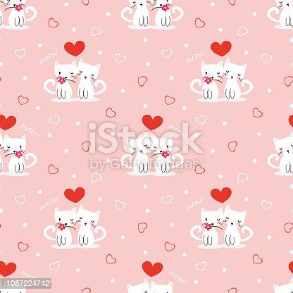 Cute white cat in love symbol seamless pattern.