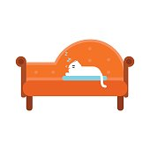 Cute white cat lying on an orange sofa, home pet resting cartoon vector Illustration