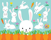 Cute White Easter Bunny Rabbit Vector Illustration