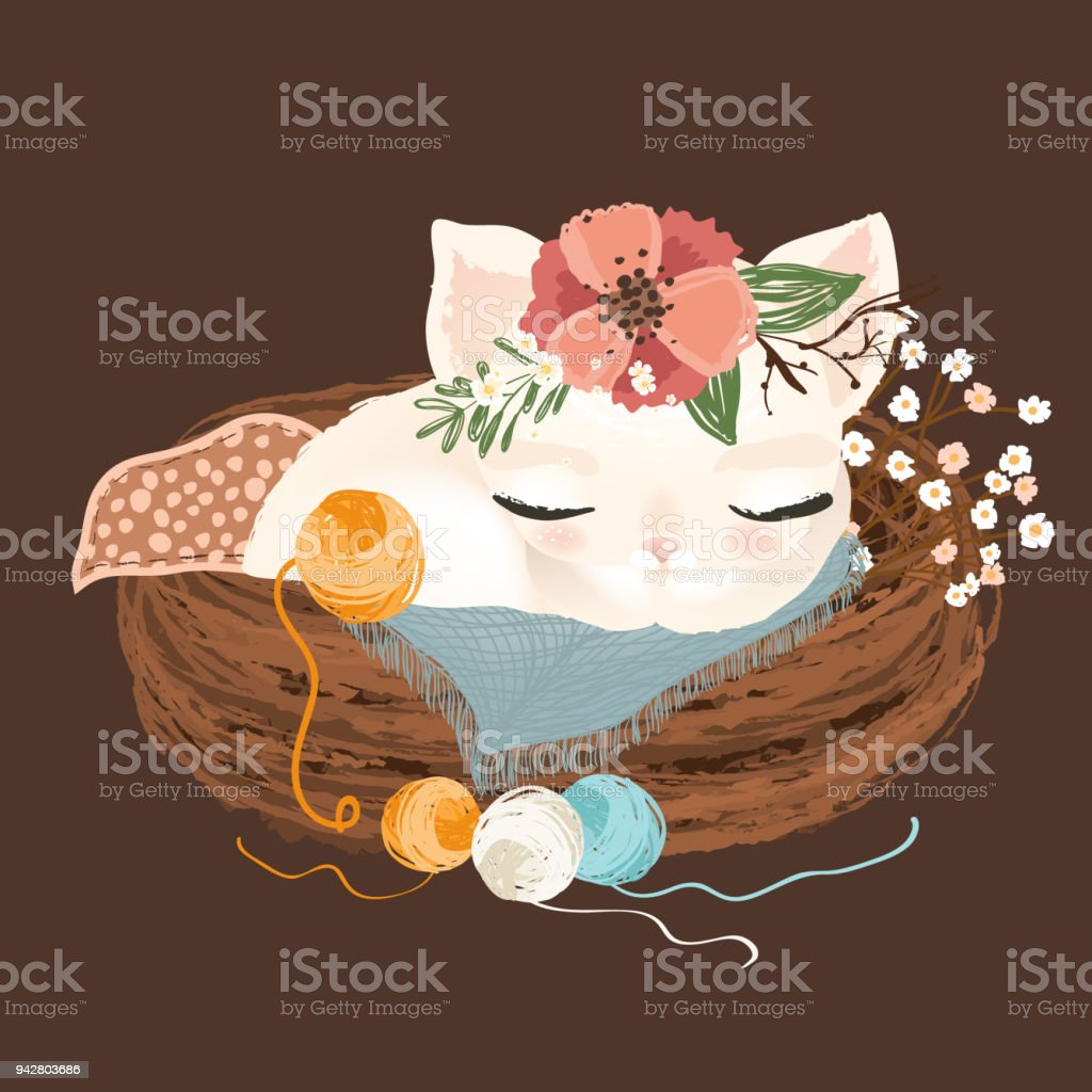 Cute white little kitten dreaming, sleeping in rustic basket with yarn balls and flowers, floral wreath, bouquet vector art illustration