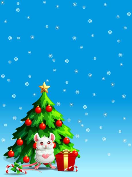 Bекторная иллюстрация Cute white mouse ang fir tree vert