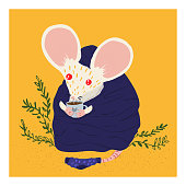 Cute white mouse for a postcard, t-shirt, children's clothing. The mouse is drinking tea.Vector cozy illustration