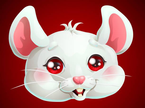 Bекторная иллюстрация Cute white mouse head on dark red