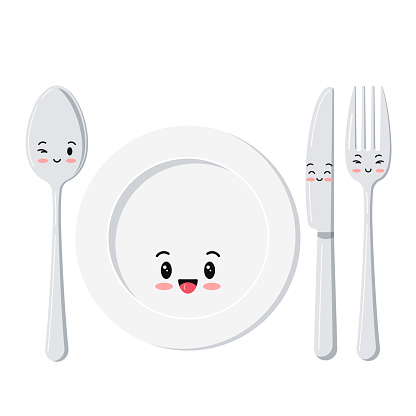 Cute white plate with spoon, knife and fork emoji set isolated on a white background.