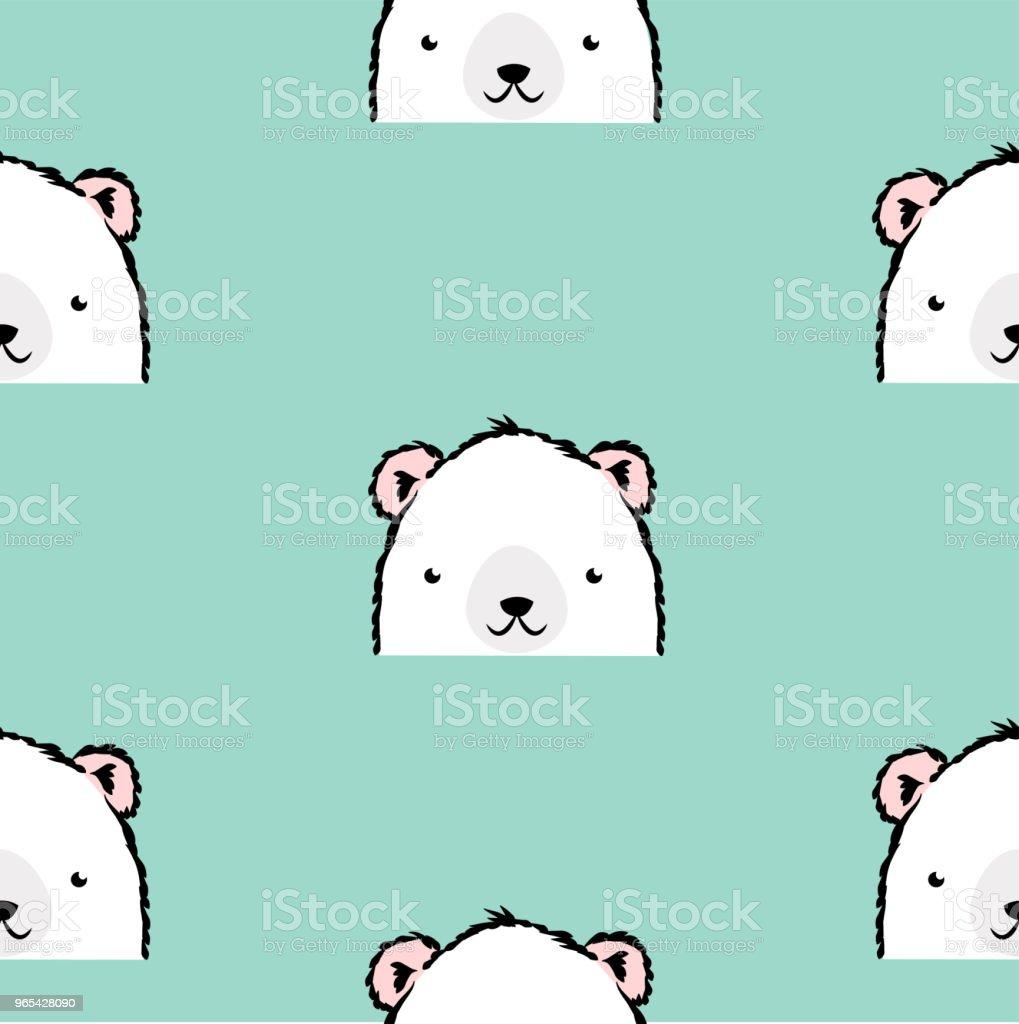 귀여운 화이트 폴라 베어 패턴 - 로열티 프리 곰 벡터 아트