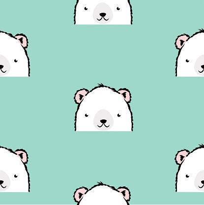 귀여운 화이트 폴라 베어 패턴 곰에 대한 스톡 벡터 아트 및 기타 이미지