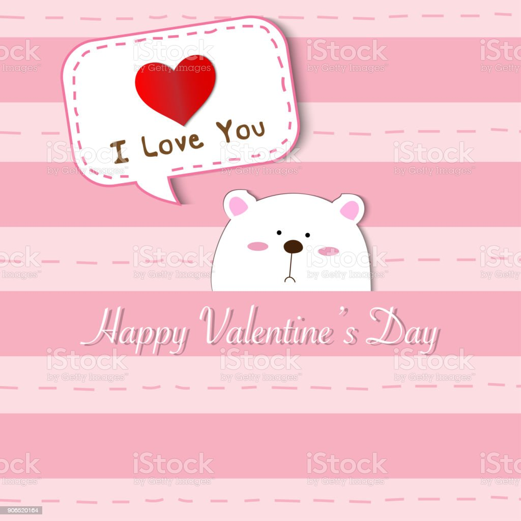 Cute white polar bear peek a boo and saying i love you on pink cute white polar bear peek a boo and saying i love you on pink pastel color thecheapjerseys Image collections