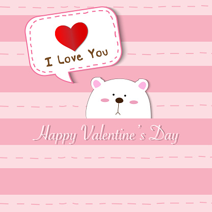 Cute white polar bear peek a boo and saying I Love You on pink pastel color stripes background for invitation card, wedding card, friendship and Valentine's day concept, vector and illustration