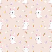 Cute white rabbit and easter eggs seamless pattern. Lovely bunny on easter background.