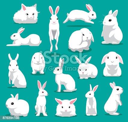 istock Cute White Rabbit Poses Cartoon Vector Illustration 876394166