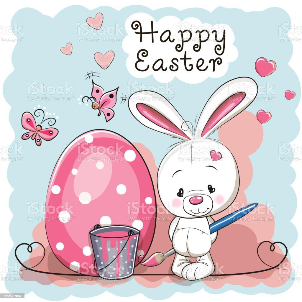 Cute white rabbit vector art illustration