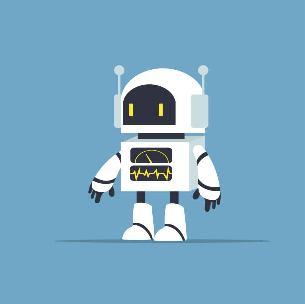 Cute white robot character vector Cute white robot character vector cyborg stock illustrations