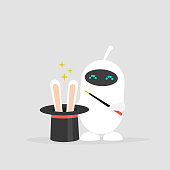 Cute white robot holding a hat with the rabbit ears inside. Magic wand. Flat editable vector illustration, clip art