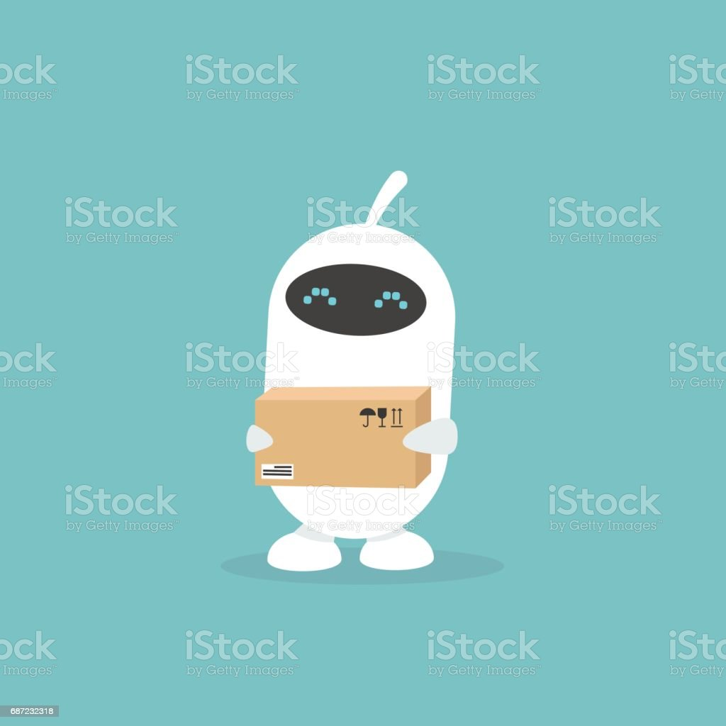 Cute white robot holding a parcel / flat editable vector illustration, clip art vector art illustration