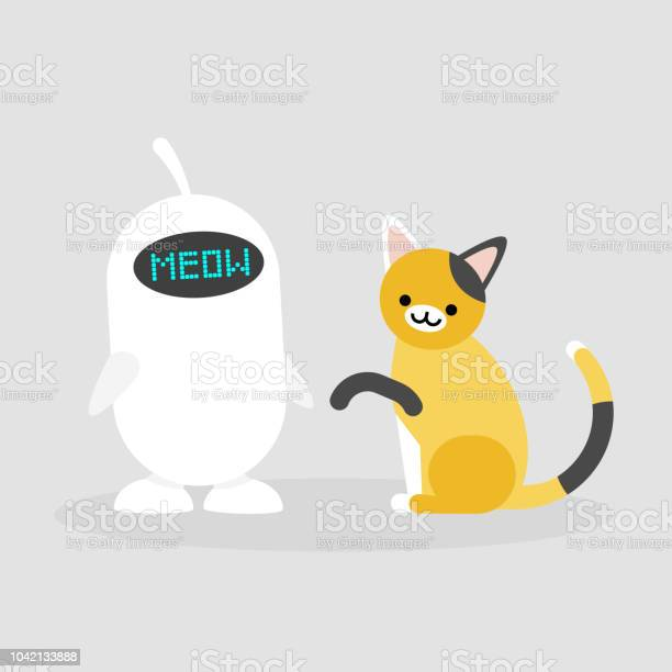 Cute white robot playing with a cat modern technologies smart home vector id1042133888?b=1&k=6&m=1042133888&s=612x612&h=lfuyz qhgs2niqk1xc3srfetuvsk9tnkbygyqyrlffk=