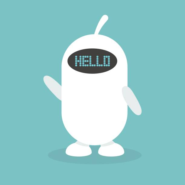 "cute white robot says ""hello"" / flat editable vector illustration, clip art - robotics stock illustrations, clip art, cartoons, & icons"