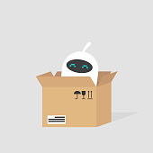 Cute white robot sitting in the cardboard box. Delivery service. Concept. Flat editable vector illustration, clip art