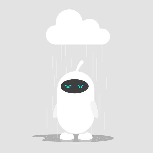 Cute white robot weeping in the rain / flat editable vector illustration, clip art vector art illustration
