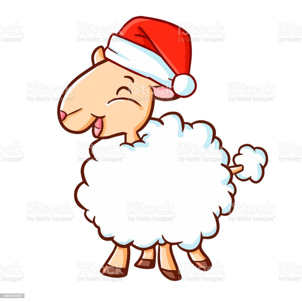 Süße Weiße Schafe Tragen Die Weihnachtsmütze Für Weihnachten Und ...