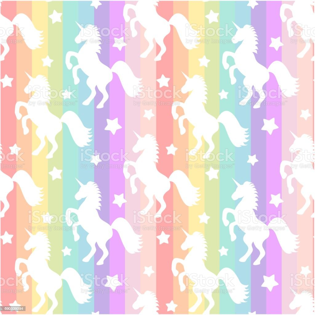 cute white unicorns silhouette on rainbow colorful stripes seamless vector pattern background illustration vector art illustration