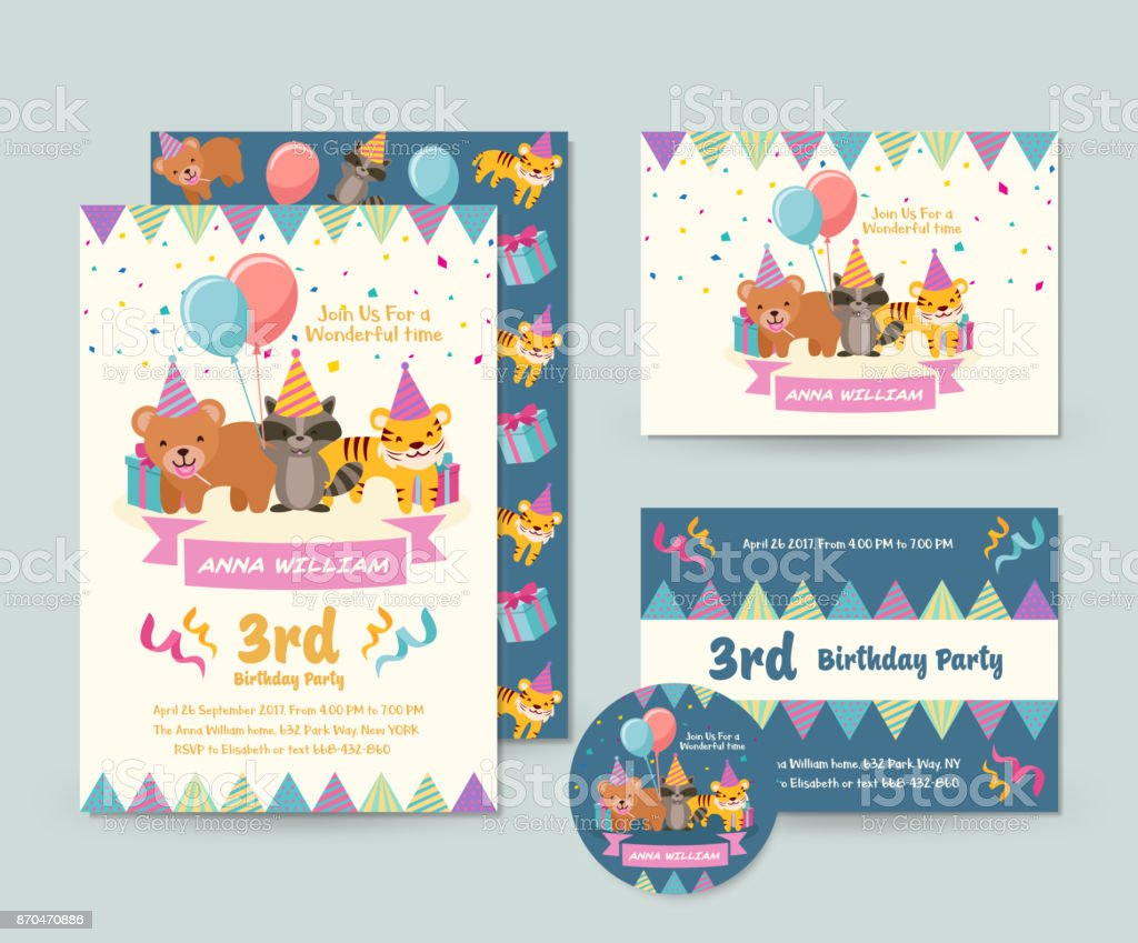 Flyer Illustration Modele Et Son Theme Animaux Sauvages Mignon