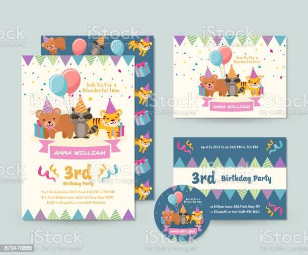 Cute wild animal theme happy birthday invitation card set and flyer vector id870470886?b=1&k=6&m=870470886&s=612x612&h= 3l0a01kpby8  6i5t 6ot5qs8tr9j3ug8u79f9mcek=