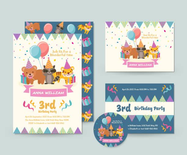 Süße wilde Tier Thema Geburtstag Einladung Karten-Set und Flyer Illustration Vorlage – Vektorgrafik