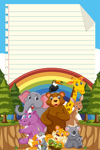 Cute wild animal with blank note template