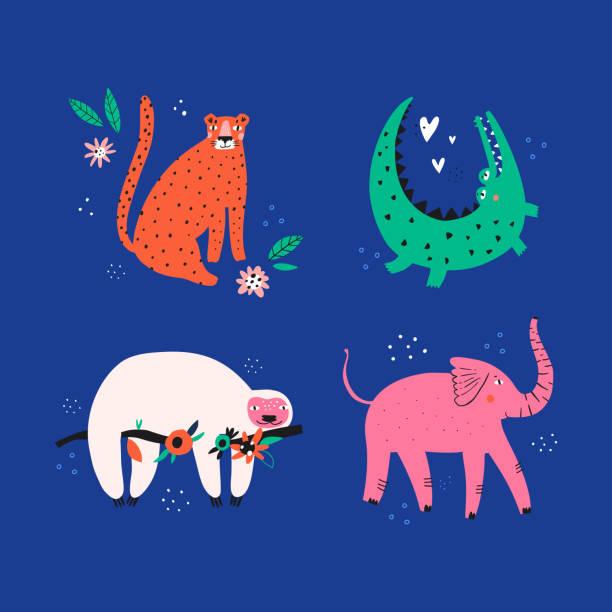 süße wilde tiere flache vektor-illustrationen set - faul ast stock-grafiken, -clipart, -cartoons und -symbole